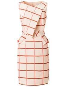 Orange Sleeveless Fold Bodycon Short Peplum Dress