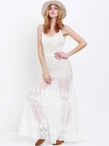 White Spaghetti Strap Lace Maxi Dress
