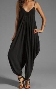 Deep V Neck Loose Jumpsuit
