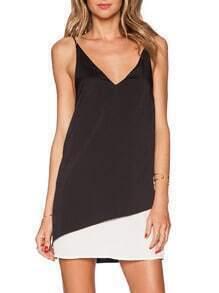 Black White Spaghetti Strap Color Block Dress