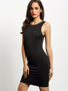 Black Sleeveless Backless Bodycon Dress