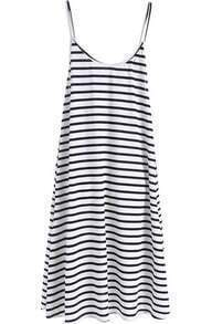 Black White Beachdresses Spaghetti Strap Striped Loose Dress