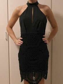 Black Tying Lacy Cutaway Halter With Lace Stunning Backless Flapper Dress