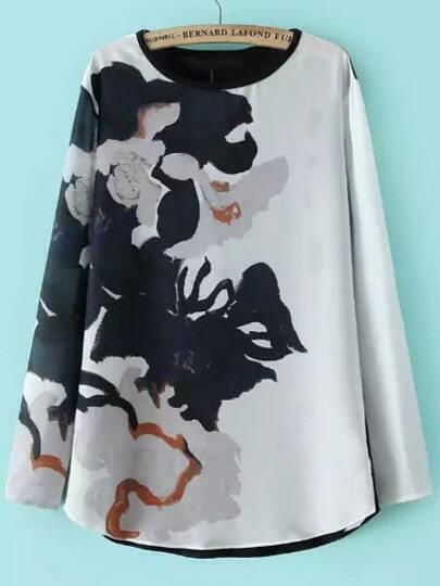 Black White Round Neck Ink Print T-Shirt