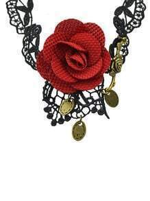 Gothic Style Black Lace Rose Pendant Choker Necklace