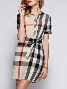 Beige Lapel Short Sleeve Check Drawstring Dress