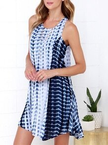 Blue Sleeveless Color Block Dress