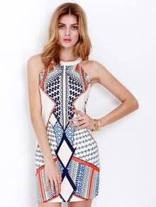 Multicolor Cutaway Sleeveless Beautifully Geometric Print Dress