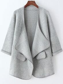 Grey Long Sleeve Pockets Loose Sweater Coat