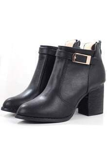 Black Buckle Strap Chunky Heel Boots