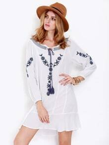 White Long Sleeve Tribal Embroidered Dress