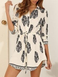 Apricot Long Sleeve Tie-waist Vintage Print Dress