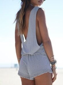 Grey Sleeveless Backless Fringe Playsuit
