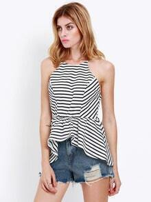 White Black Spaghetti Strap Backless Striped Cami Top