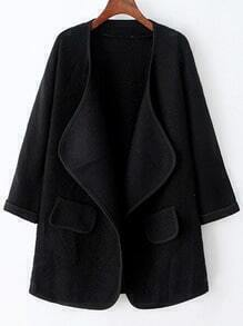 Black Long Sleeve Pockets Loose Sweater Coat