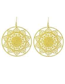 Fashion Jewelry Gold Plated Hollow Out Round Big Earrings