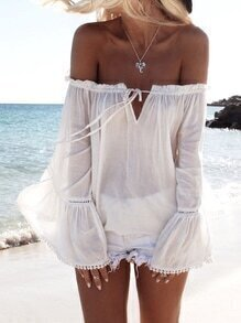 White Long Sleeve Off The Shoulder Blouse