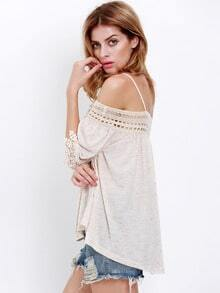 Apricot Off The Shoulder With Lace Blouse