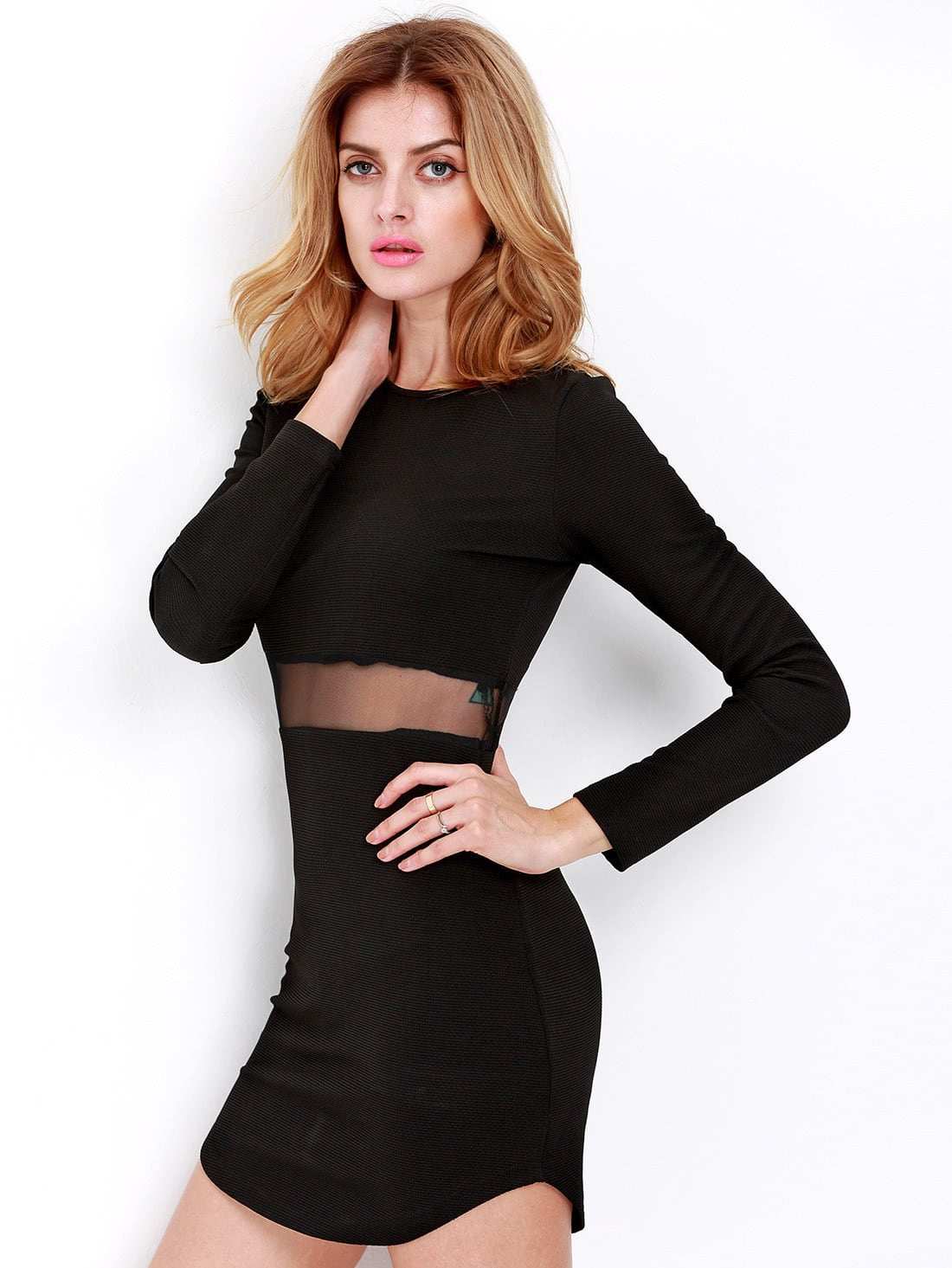 Long sleeved black bodycon dress