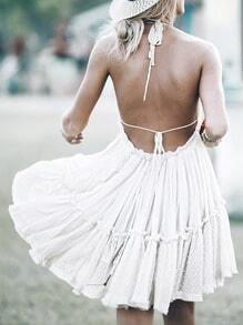 White Halter Backless Pleated Dress