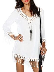 White Long Sleeve Hollow Tassel Dress