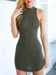 Army Green Rribbed Halter Open Back Bodycon Dress
