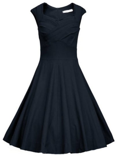 Frocks Heart Shape Collar Raw Sleeveless Flare Dress