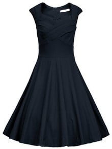 Navy Frocks Heart Shape Collar Sleeveless Flare Dress