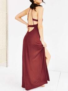 Wine Red Spaghetti Strap Backless Split Maxi Dress
