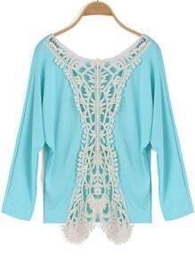 Blue Round Neck Hollow Lace Loose Top