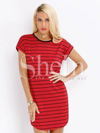 Red Short Sleeve Striped Dress