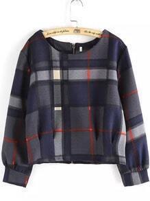 Navy Grey Round Neck Plaid Crop Sweatshirt