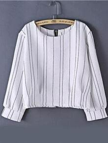 White Round Neck Vertical Stripe Crop Top