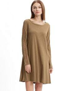 Army Green Cheesecloth Long Sleeve Casual Dress