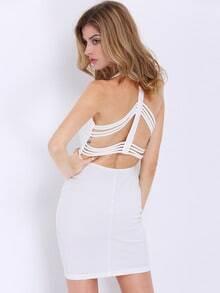 White Spaghetti Strap V Neck Backless Bodycon Dress