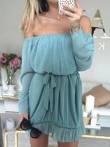 Blue Long Sleeve Off The Shoulder Dress