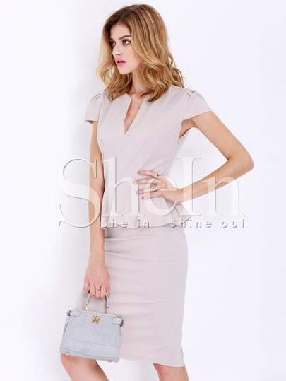Apricot Workplace Cap Sleeve Sheath Dress