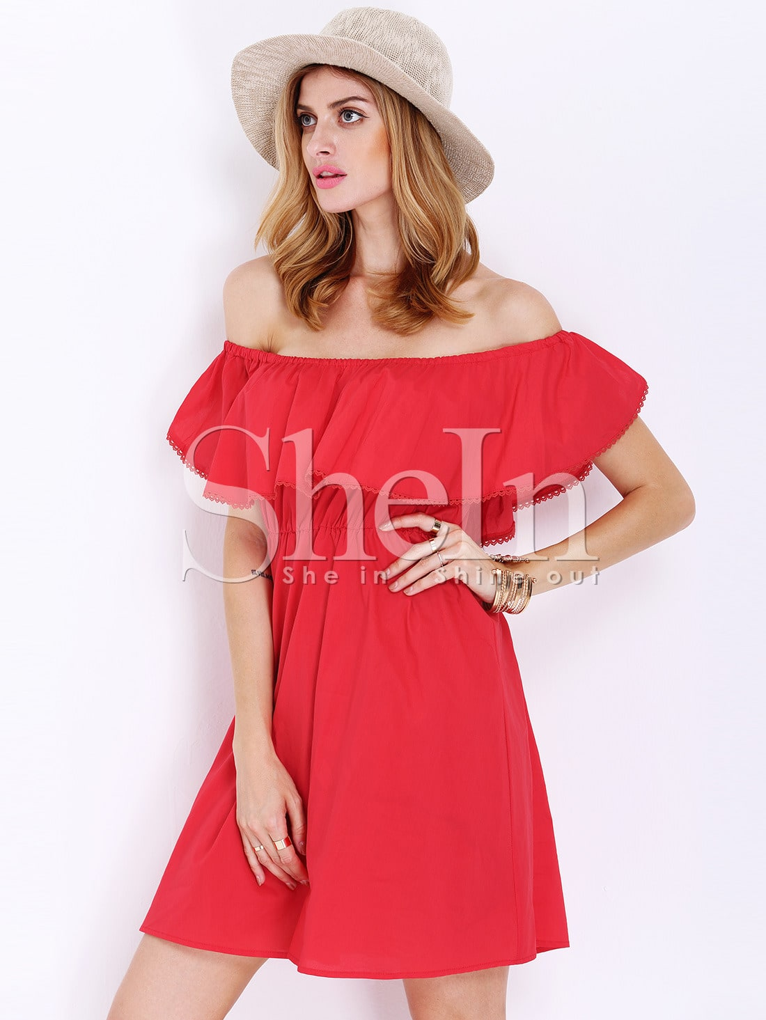 Red Off The Shoulder Frills Wrinkle Ruffle Dress -SheIn(Sheinside)
