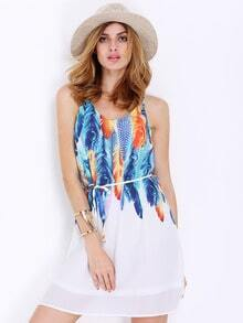 White Spaghetti Strap Feather Print Dress