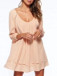 Apricot Long Sleeve Off The Shoulder Dress