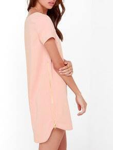 Pink Short Sleeve High Low Zipper Dress