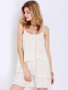 Apricot Spaghetti Strap Backless Wrinkle Ruffle Dress