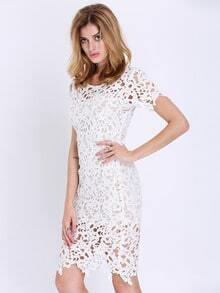 White Short Sleeve Crochet Lace Dress