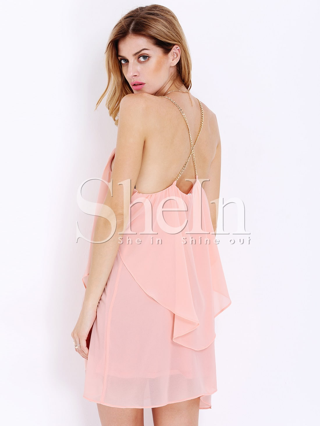 Pink Slip Spaghetti Strap Wrinkle Ruffle DressPink Slip Spaghetti Strap Wrinkle Ruffle Dress<br><br>color: Pink<br>size: L