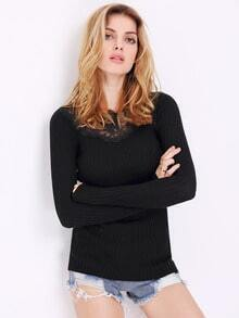 Black Long Sleeve With Lace Sweater