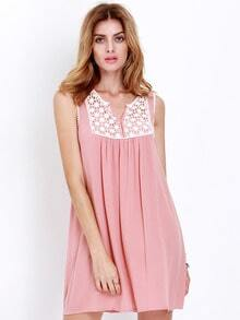 Pink House Sleeveless Embroidered Dress