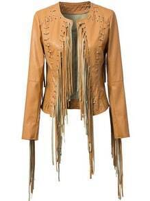 Khaki Long Sleeve Tassel Crop PU Jacket