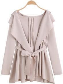 Apricot Hooded Belt Loose Coat