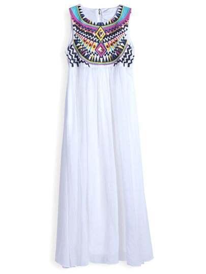 White Sleeveless Embroidery Argyle Triangle Pleated Chiffon Dress