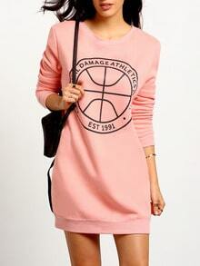 Pink Tees Long Sleeve Pattern Print Dress